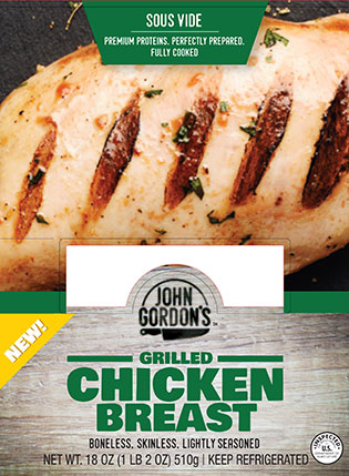 John Gordon's Grilled Chicken Breast Package Label