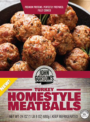 John Gordon's Homestyle Turkey Meatballs Package Label